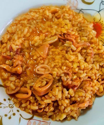 3 cereali con calamari al vapore